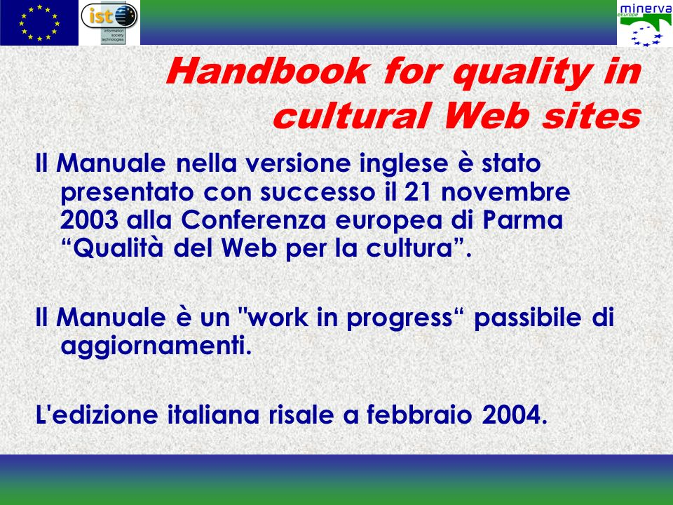 Handbook for quality in cultural Web sites
