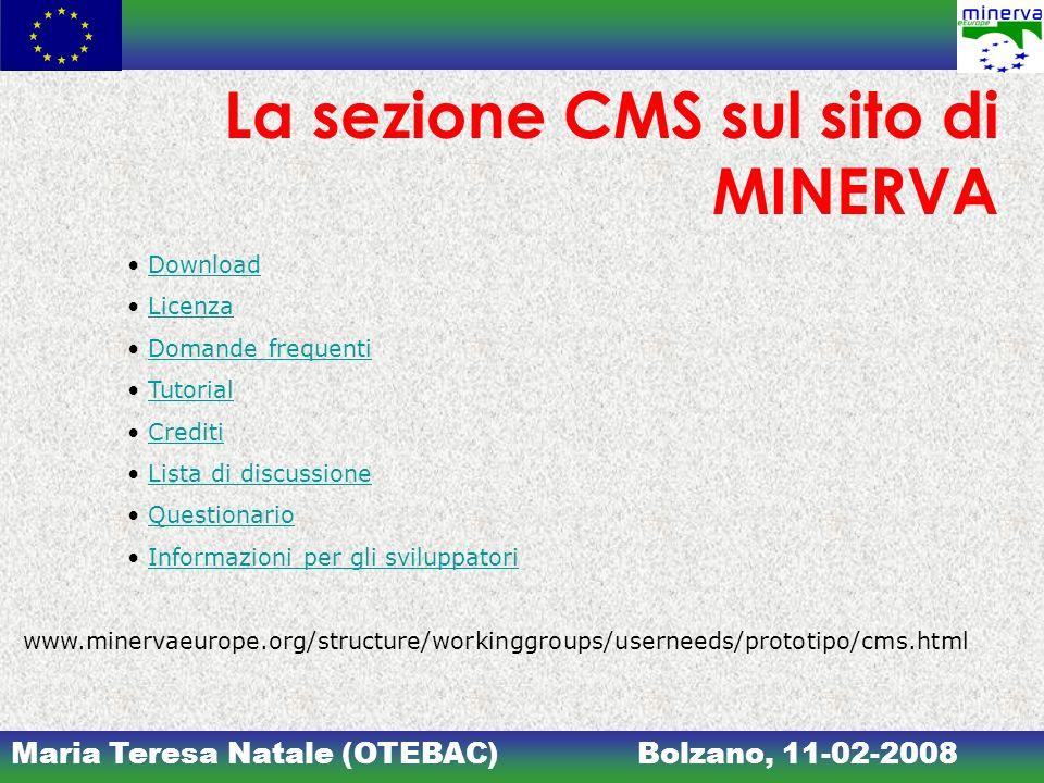 La sezione CMS sul sito di MINERVA
