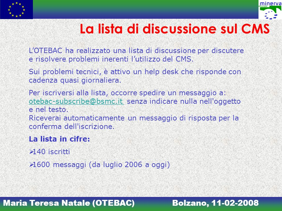 La lista di discussione sul CMS