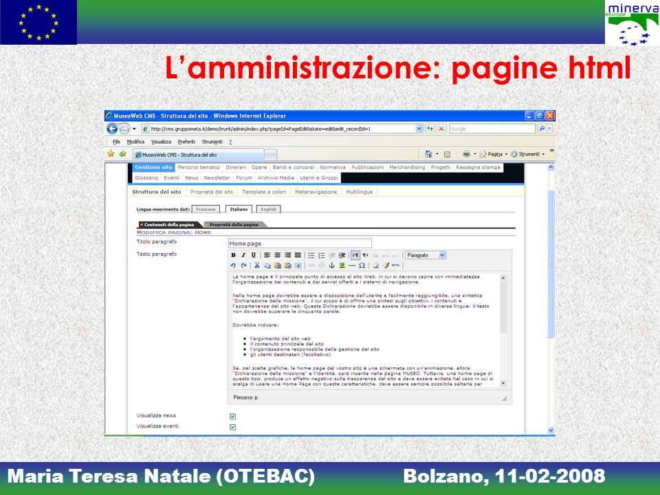 L'amministrazione: pagine html