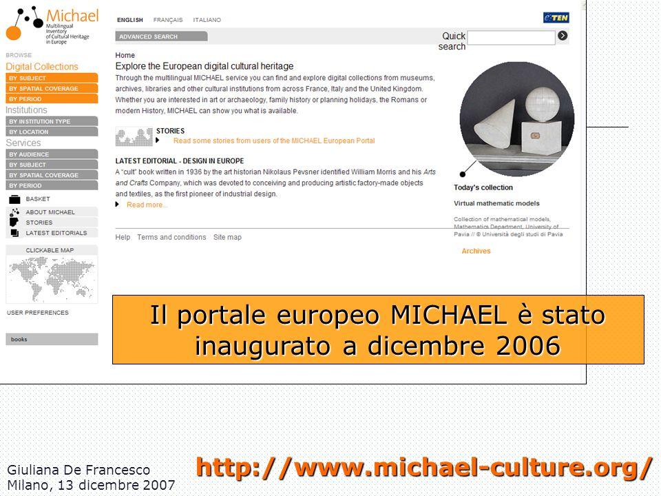 Il portale europeo MICHAEL è stato inaugurato a dicembre 2006