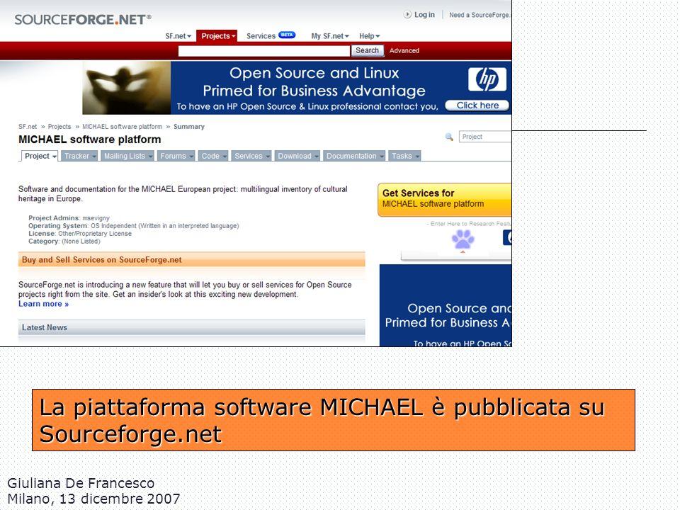 La piattaforma software MICHAEL è pubblicata su Sourceforge.net