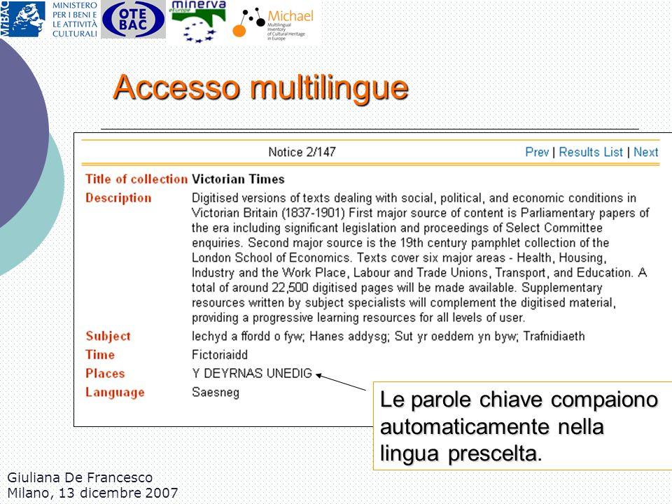 Accesso multilingue Le parole chiave compaiono automaticamente nella lingua prescelta. Giuliana De Francesco.