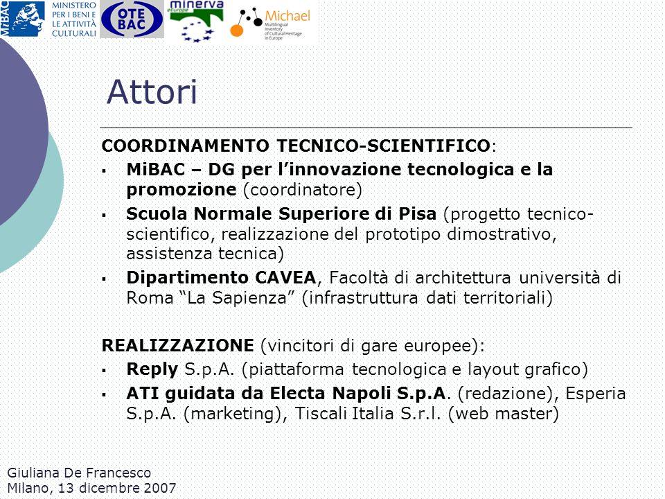 Attori COORDINAMENTO TECNICO-SCIENTIFICO: