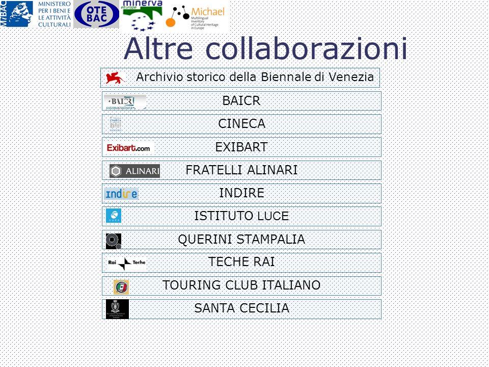 Altre collaborazioni BAICR CINECA EXIBART FRATELLI ALINARI INDIRE