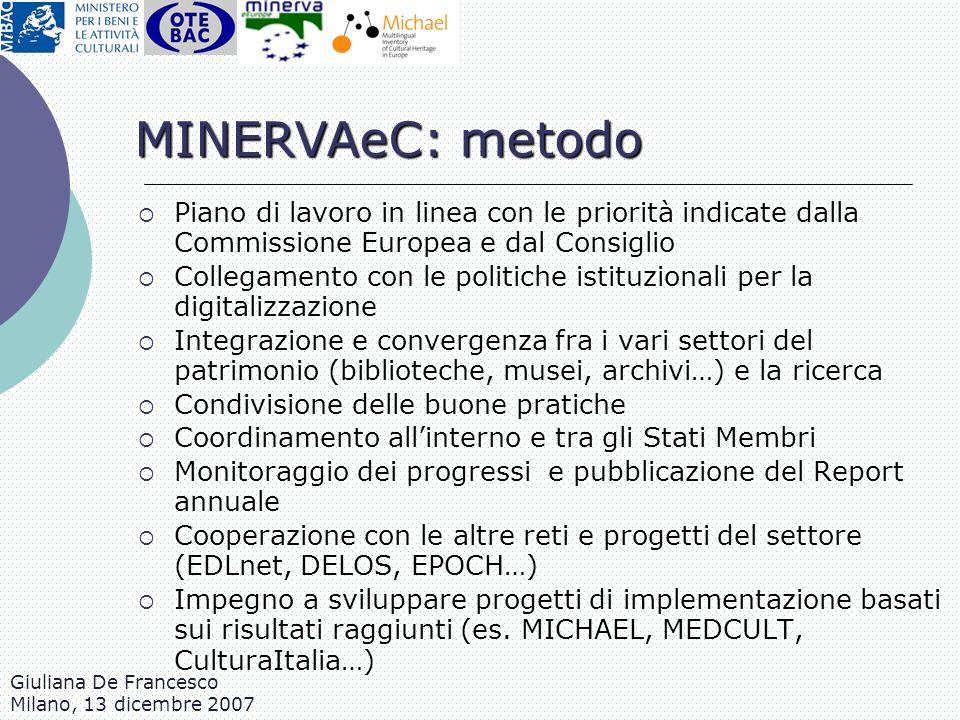 MINERVAeC: metodo Piano di lavoro in linea con le priorità indicate dalla Commissione Europea e dal Consiglio.