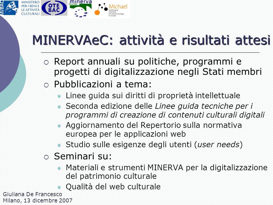 MINERVAeC: attività e risultati attesi