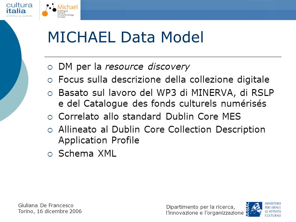 MICHAEL Data Model DM per la resource discovery