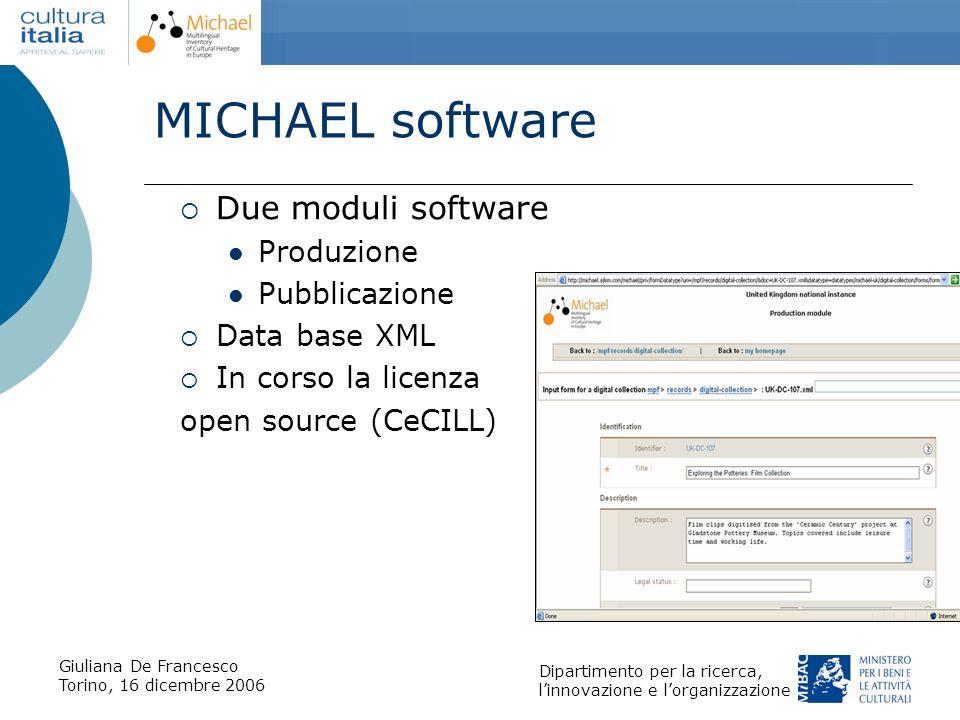 MICHAEL software Due moduli software Produzione Pubblicazione