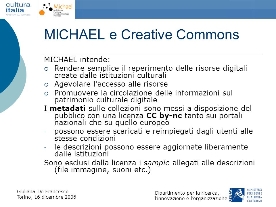 MICHAEL e Creative Commons