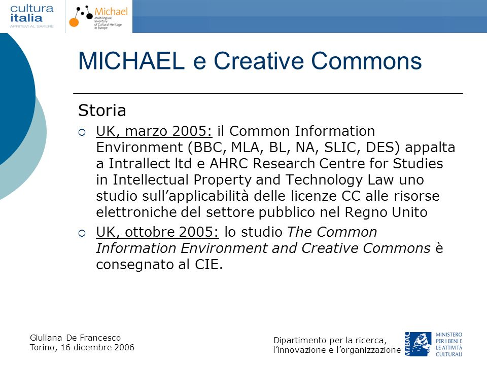 MICHAEL e Creative Commons