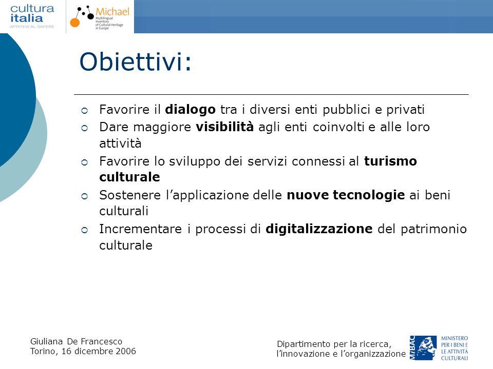 Obiettivi: Favorire il dialogo tra i diversi enti pubblici e privati