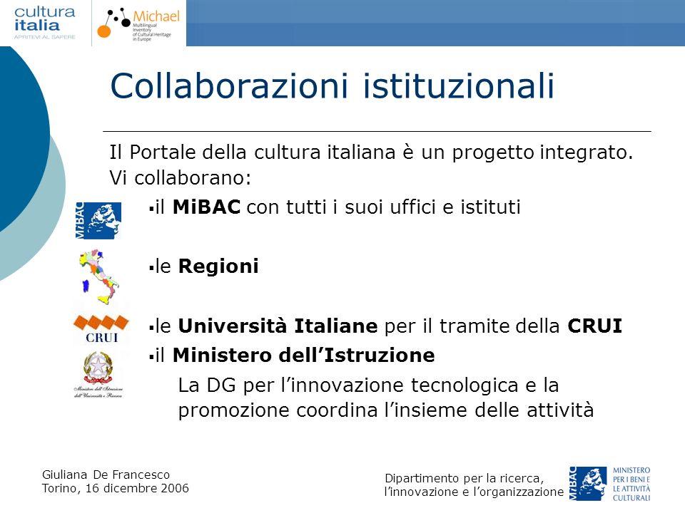 Collaborazioni istituzionali