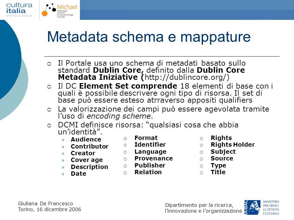 Metadata schema e mappature