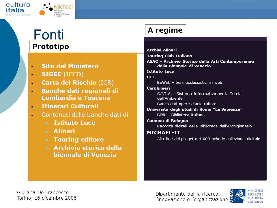 Fonti A regime Prototipo Sito del Ministero SIGEC (ICCD)