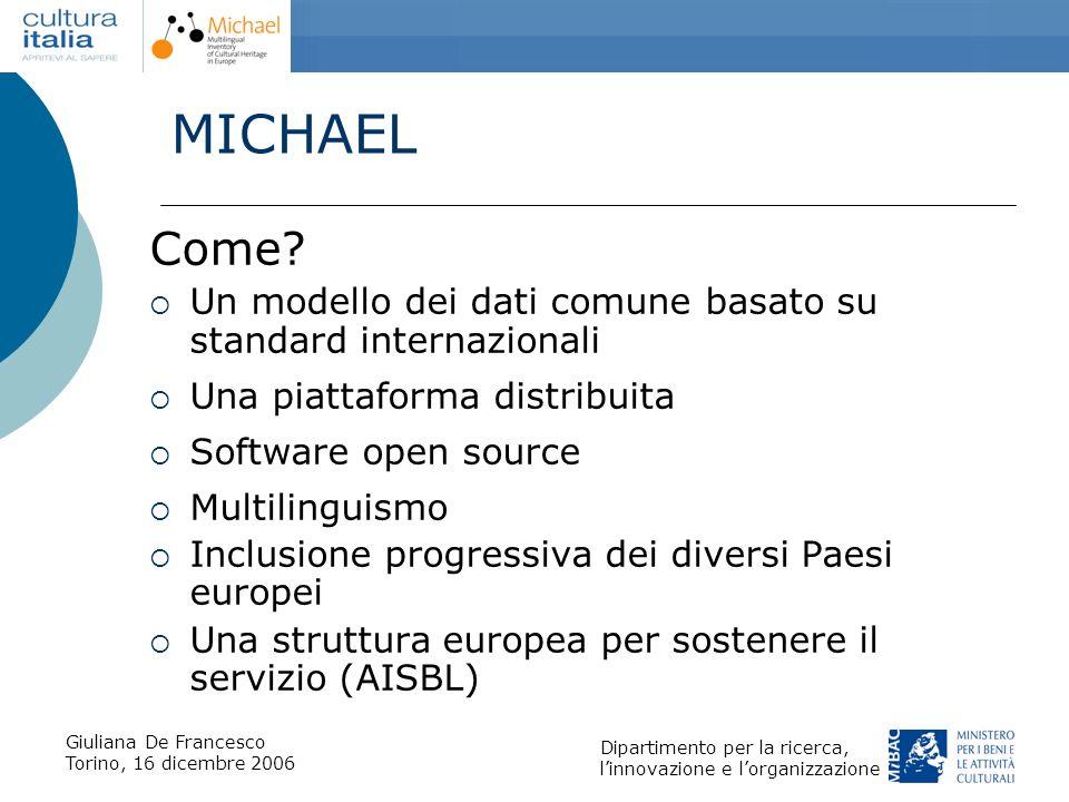 MICHAEL Come Un modello dei dati comune basato su standard internazionali. Una piattaforma distribuita.