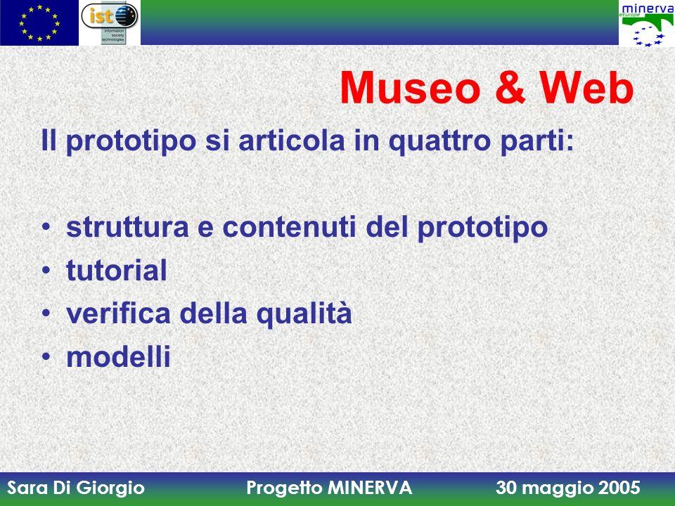 Museo & Web Il prototipo si articola in quattro parti: struttura e contenuti del prototipo. tutorial.