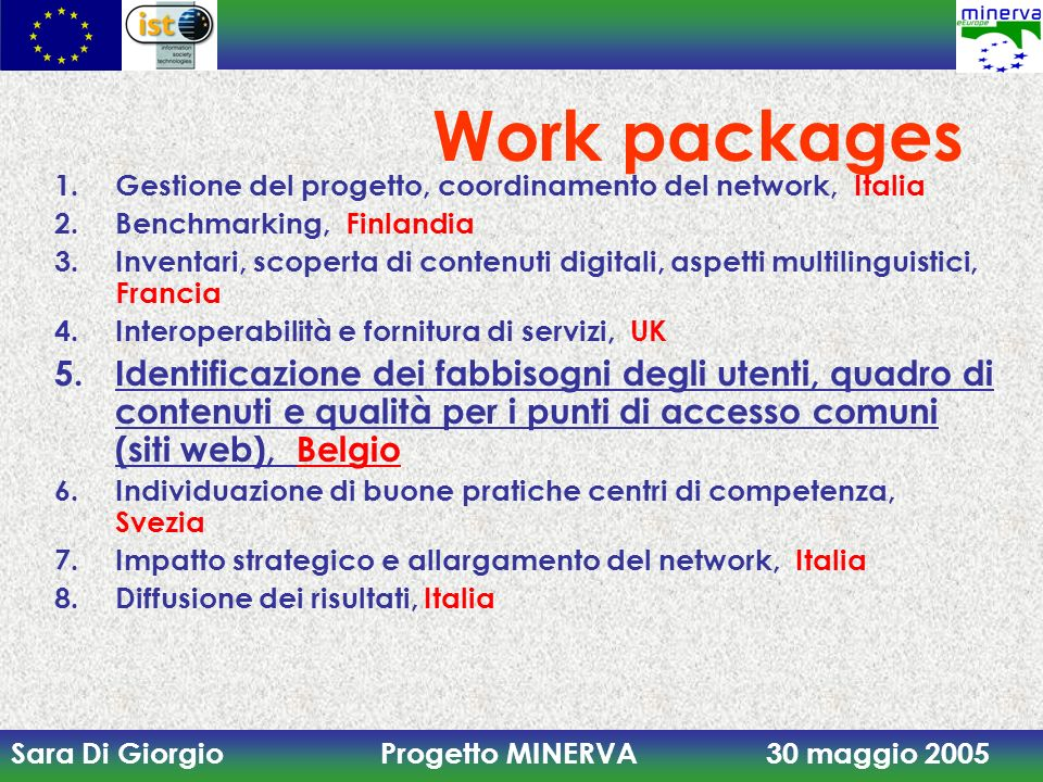 Work packages Gestione del progetto, coordinamento del network, Italia. Benchmarking, Finlandia.
