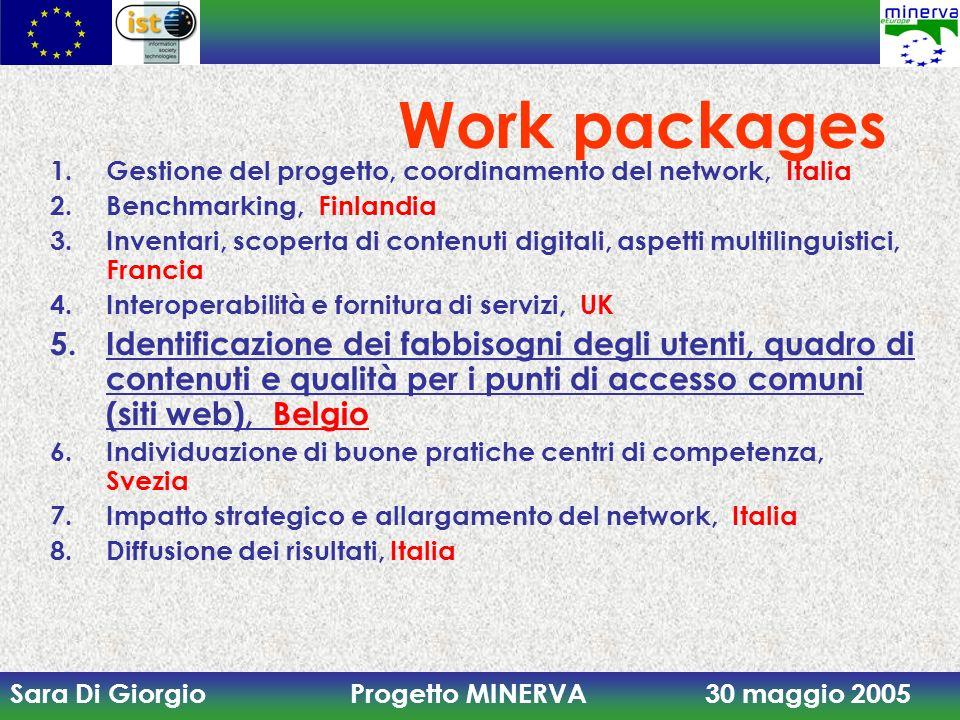 Work packagesGestione del progetto, coordinamento del network, Italia. Benchmarking, Finlandia.