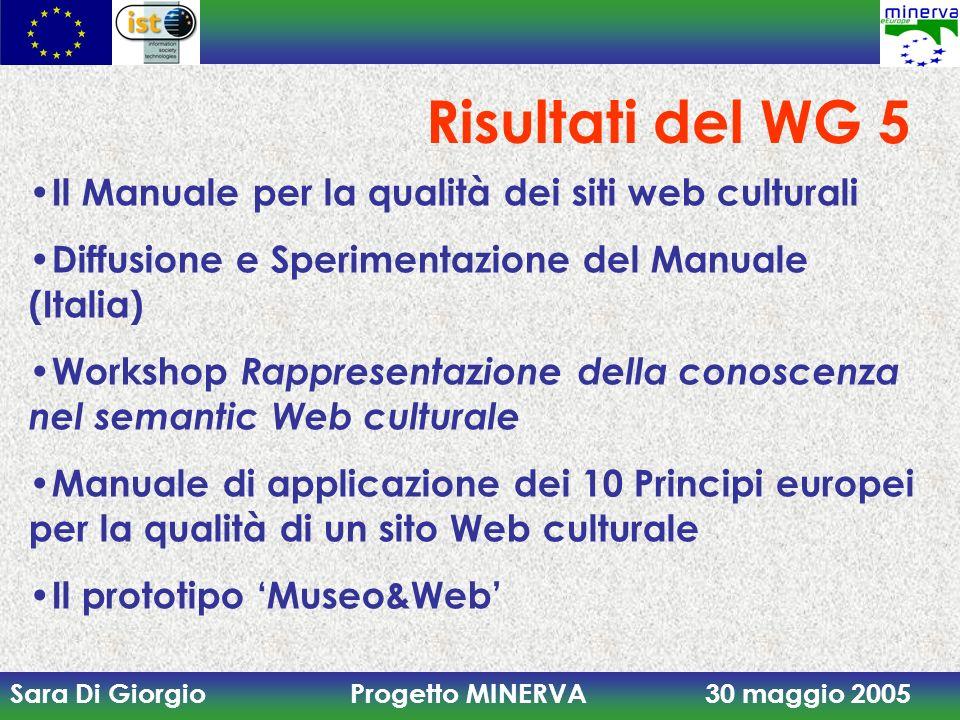 Risultati del WG 5 Il Manuale per la qualità dei siti web culturali