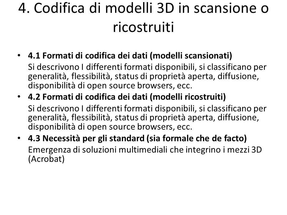 4. Codifica di modelli 3D in scansione o ricostruiti