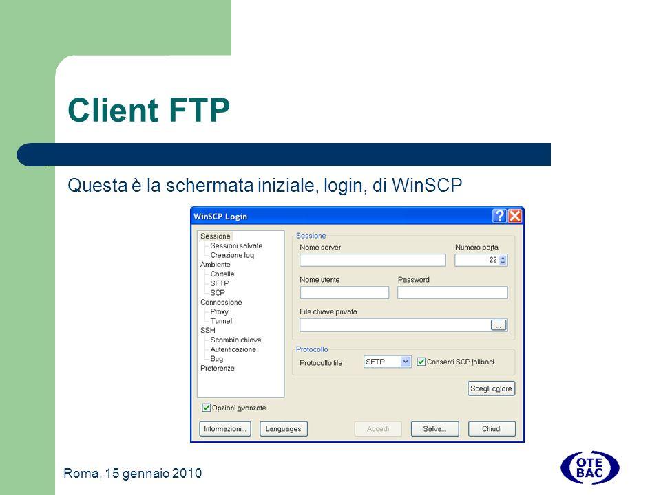 Client FTP Questa è la schermata iniziale, login, di WinSCP