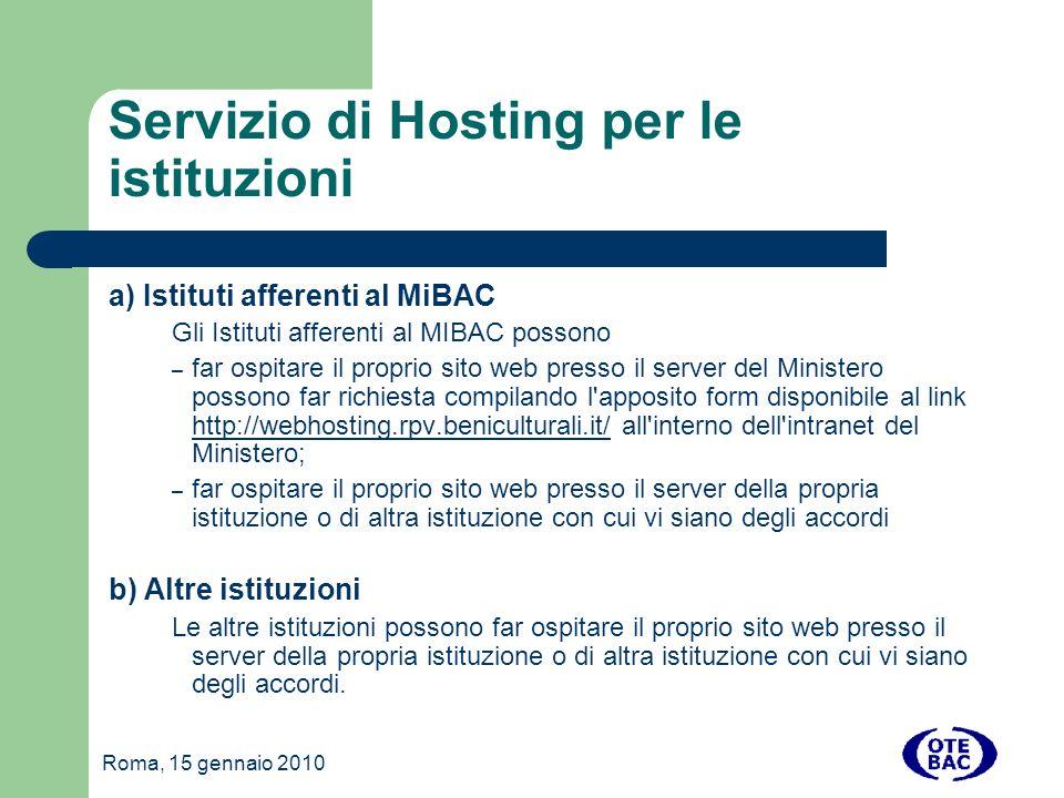 Servizio di Hosting per le istituzioni