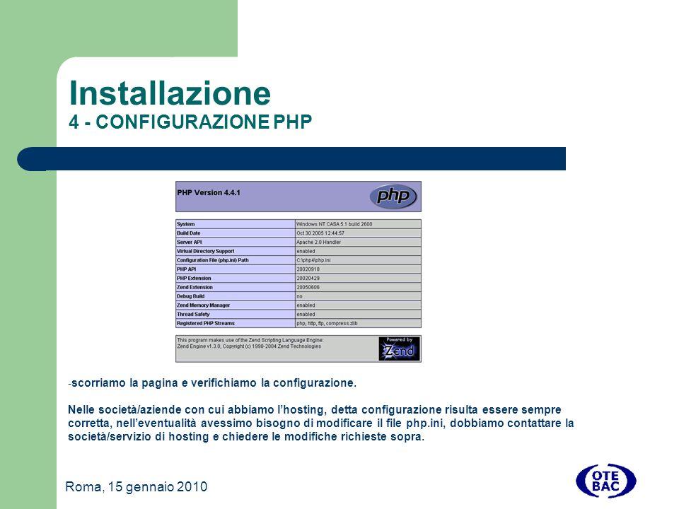 Installazione 4 - CONFIGURAZIONE PHP