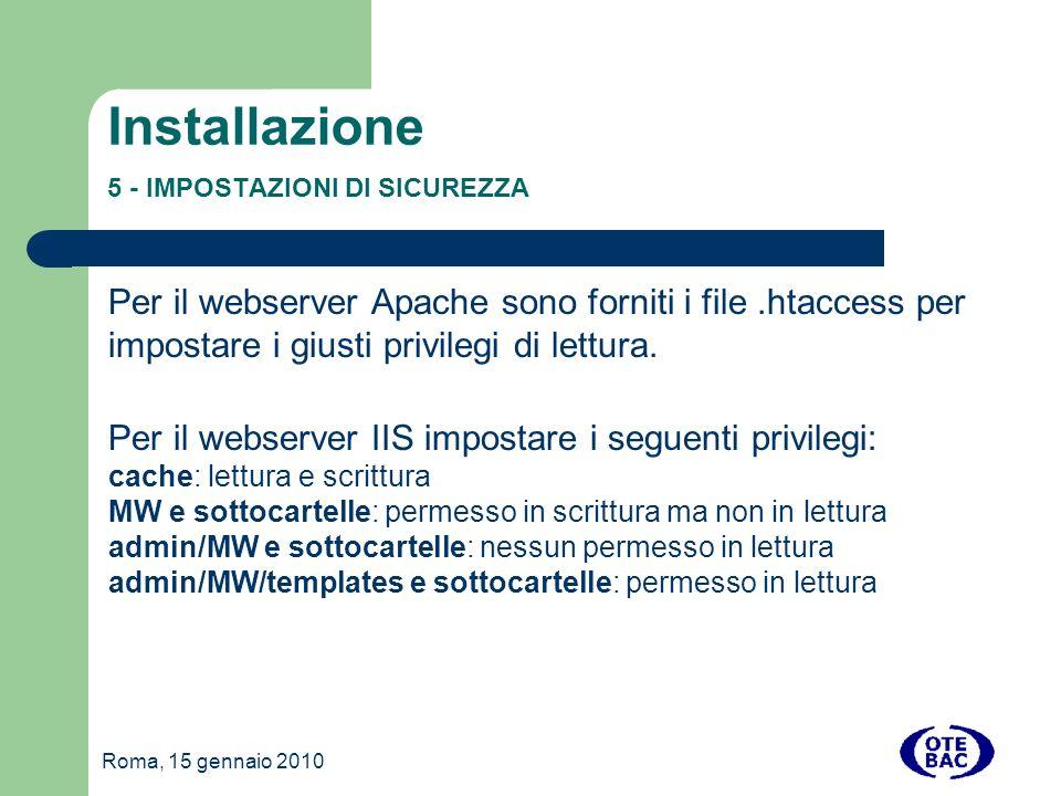Installazione 5 - IMPOSTAZIONI DI SICUREZZA