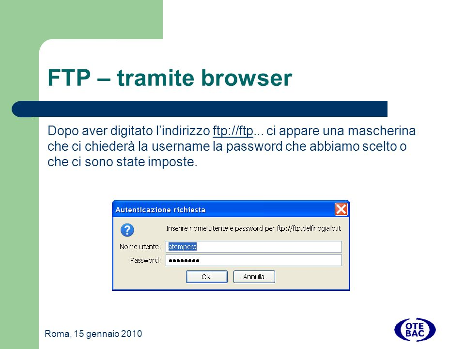 FTP – tramite browser