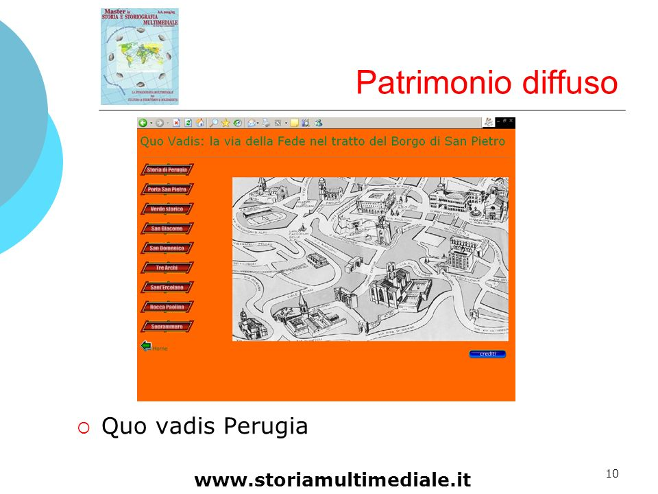 Patrimonio diffuso Quo vadis Perugia www.storiamultimediale.it