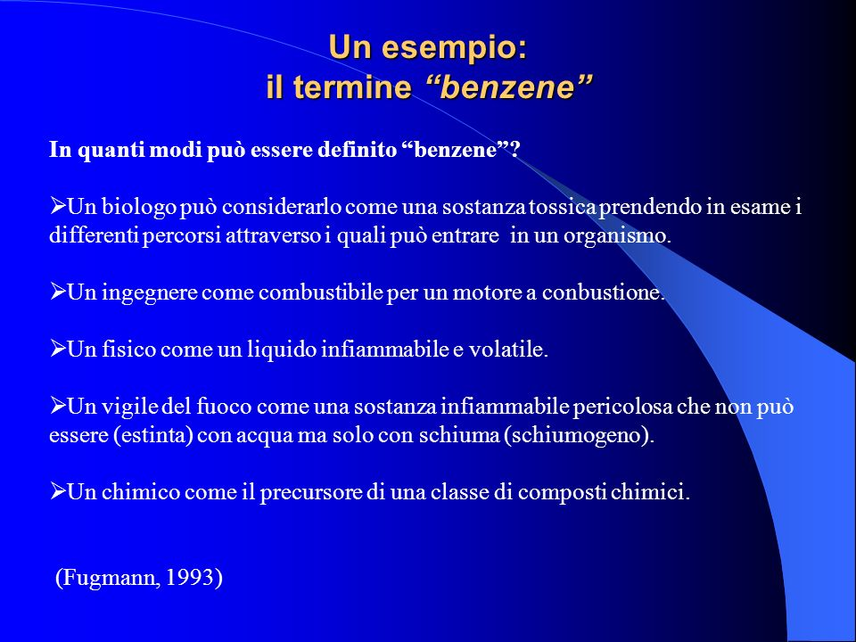 Un esempio: il termine benzene