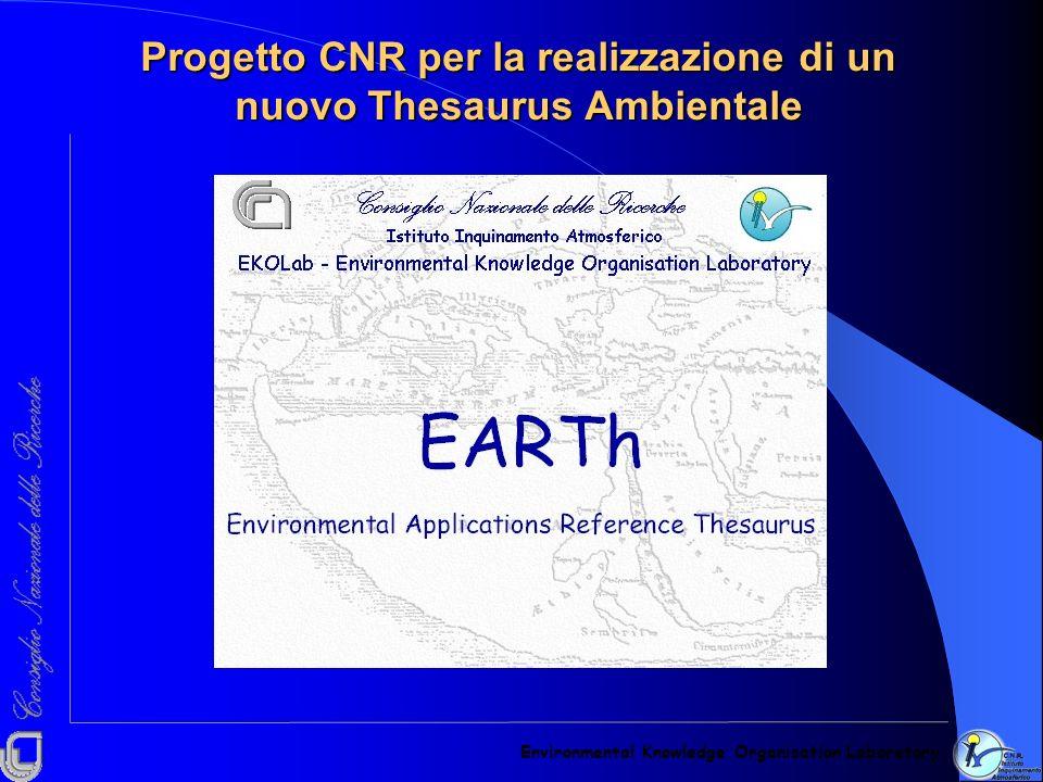 Progetto CNR per la realizzazione di un nuovo Thesaurus Ambientale