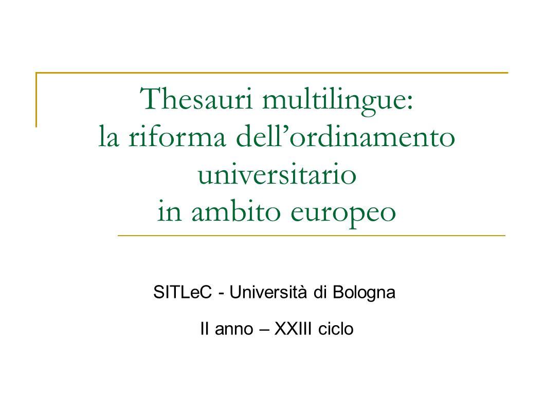 Thesauri multilingue: la riforma dell'ordinamento universitario
