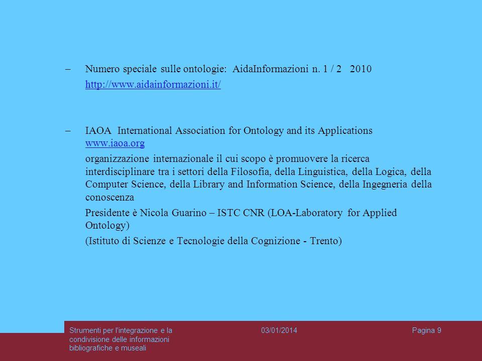 Numero speciale sulle ontologie: AidaInformazioni n. 1 / 2 2010