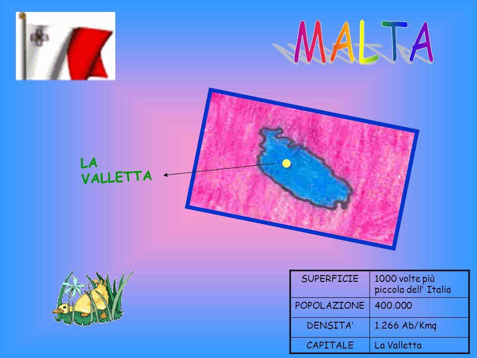 MALTA LA VALLETTA SUPERFICIE 1000 volte più piccola dell' Italia