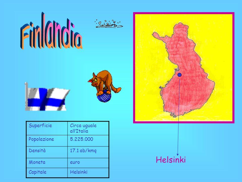 Finlandia Helsinki Superficie Circa uguale all'Italia Popolazione