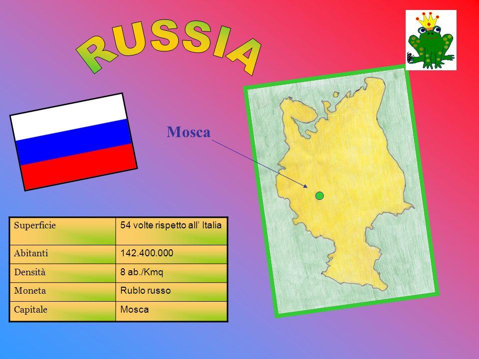 RUSSIA Mosca Superficie 54 volte rispetto all' Italia Abitanti