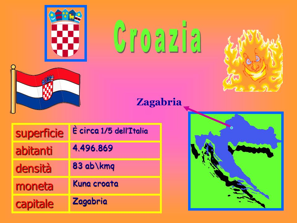 Croazia superficie abitanti densità moneta capitale Zagabria 4.496.869
