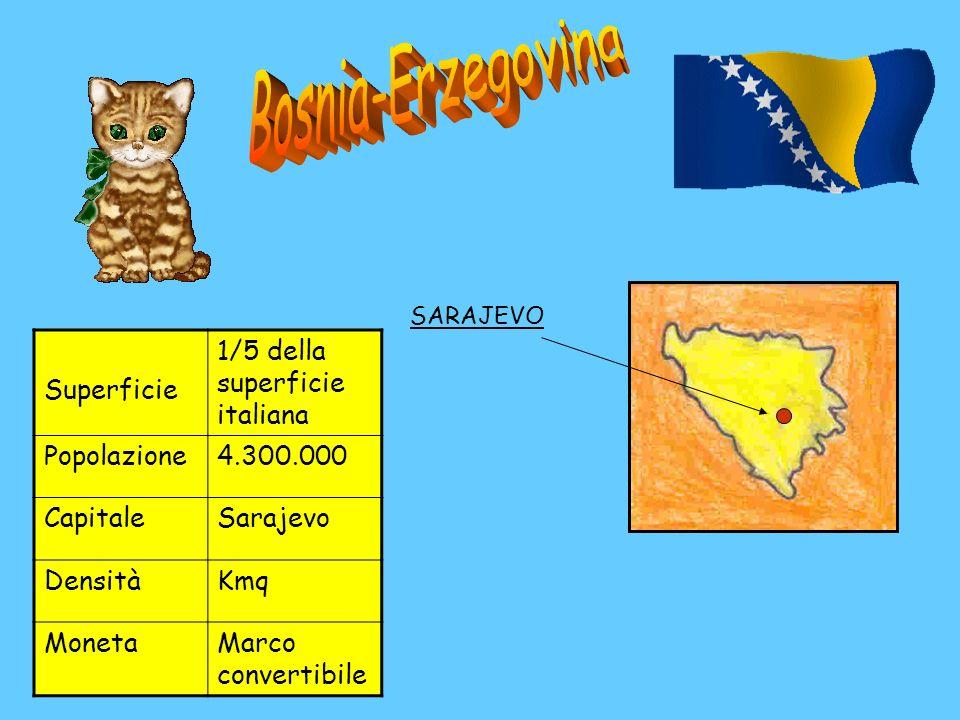 Bosnia-Erzegovina Superficie 1/5 della superficie italiana Popolazione