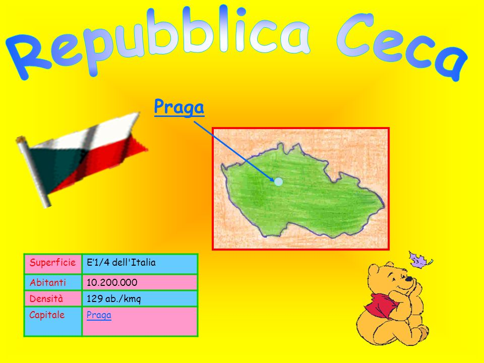 Repubblica Ceca Praga Superficie E'1/4 dell Italia Abitanti 10.200.000