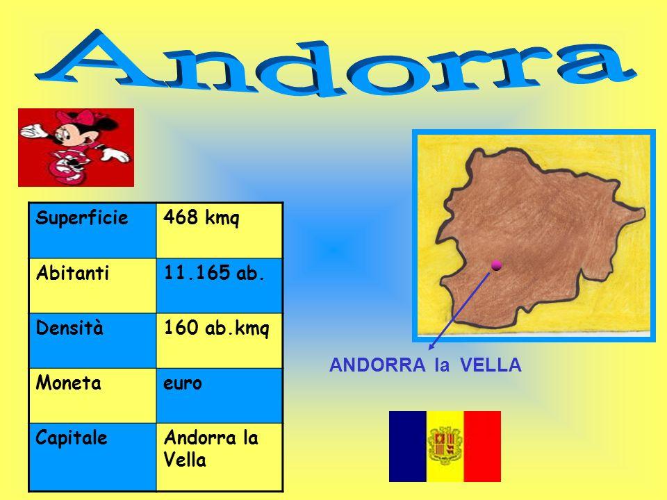 Andorra Superficie 468 kmq Abitanti 11.165 ab. Densità 160 ab.kmq