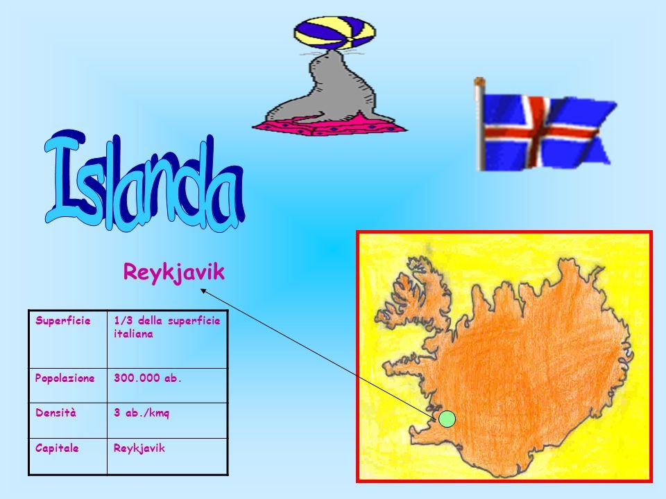 Islanda Reykjavik Superficie 1/3 della superficie italiana Popolazione