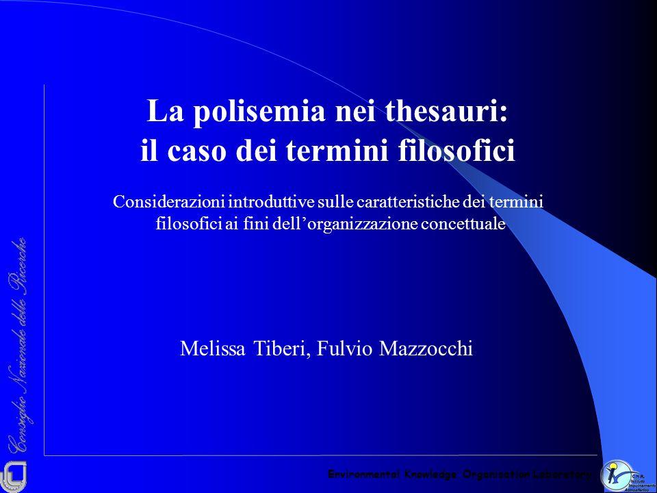 La polisemia nei thesauri: il caso dei termini filosofici