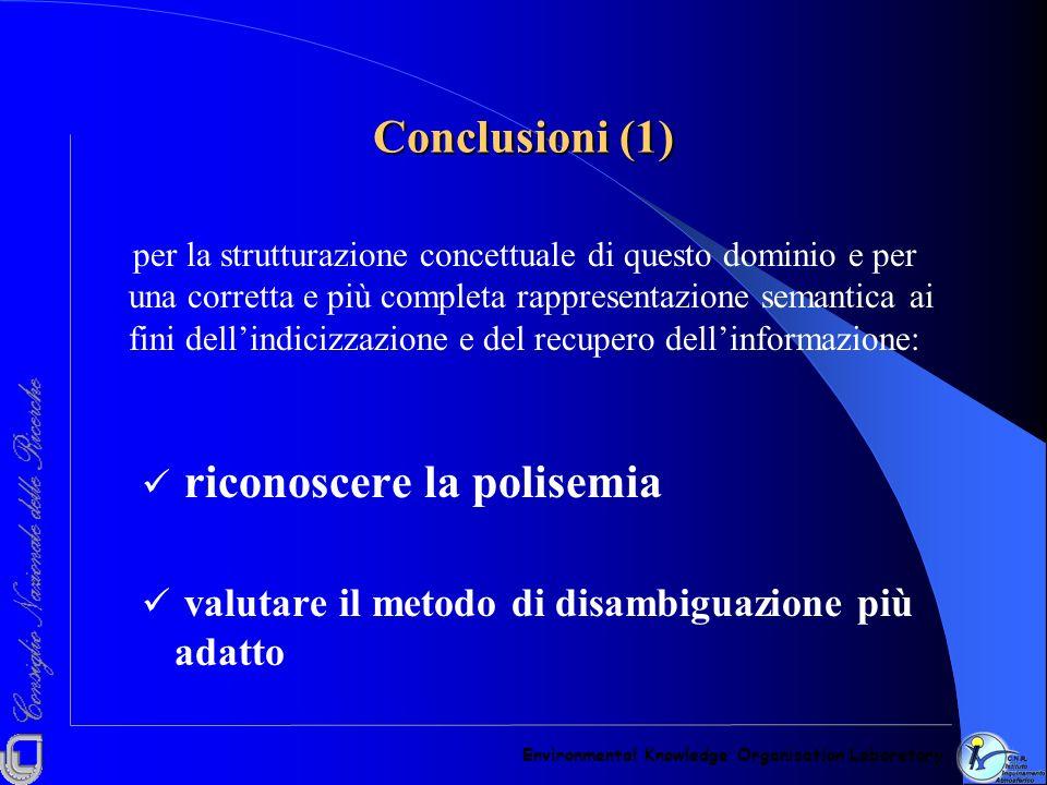 Conclusioni (1) riconoscere la polisemia