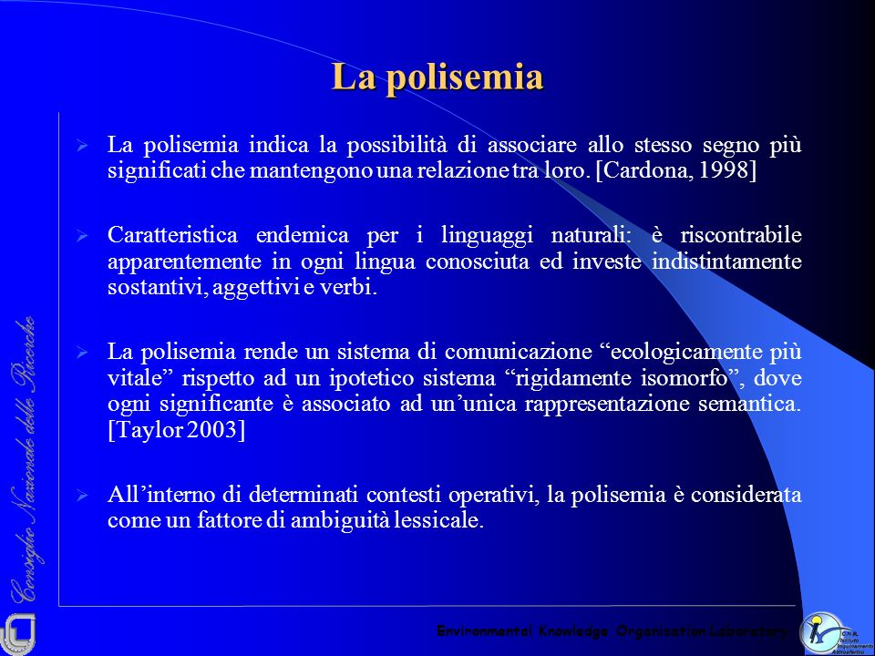 La polisemia Environmental Knowledge Organisation Laboratory.