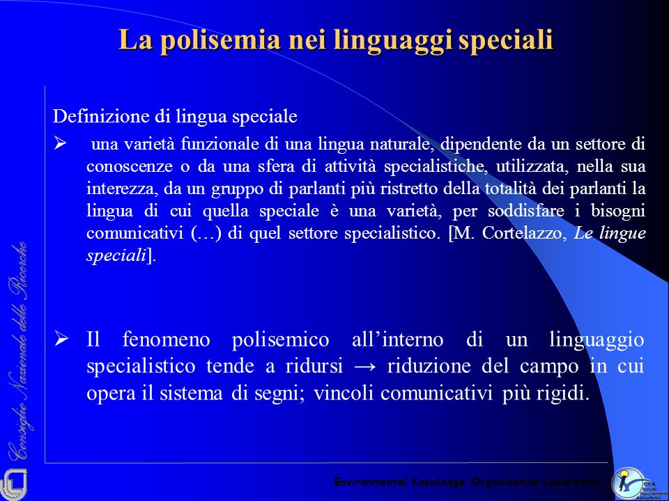 La polisemia nei linguaggi speciali
