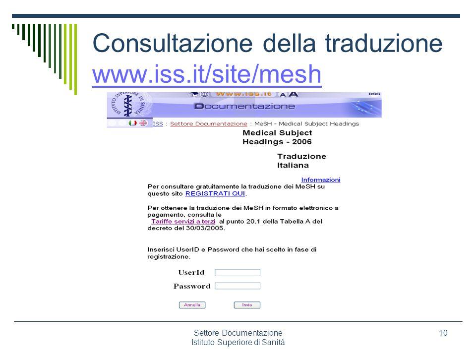 Consultazione della traduzione www.iss.it/site/mesh