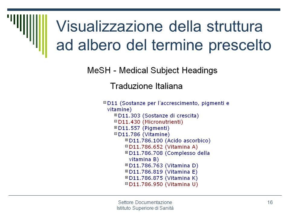 Visualizzazione della struttura ad albero del termine prescelto