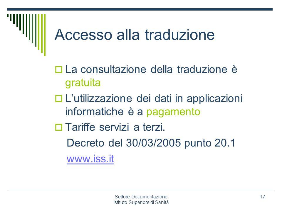 Accesso alla traduzione